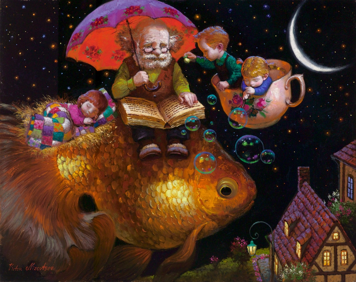 07-Goodnight-Moon-Victor-Nizovtsev-Daydreaming-with-Fantasy-Oil-Paintings-www-designstack-co