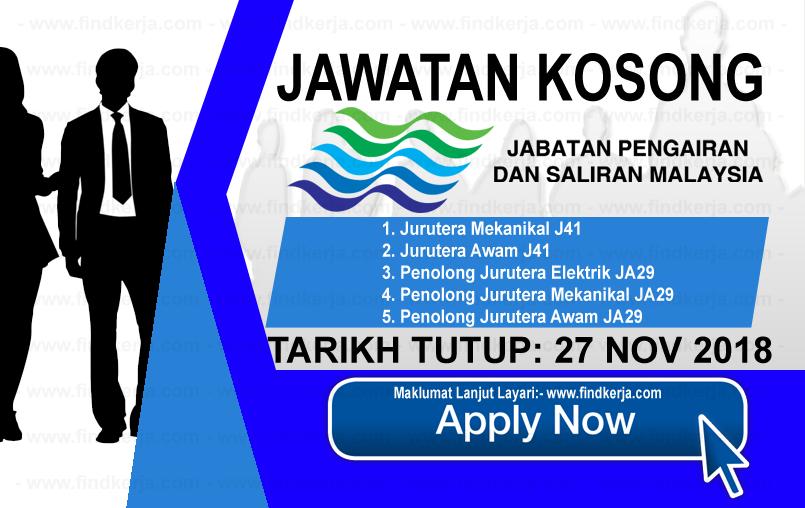 Jawatan Kerja Kosong JPS - Jabatan Pengairan dan Saliran Malaysia logo www.ohjob.info www.findkerja.com november 2018