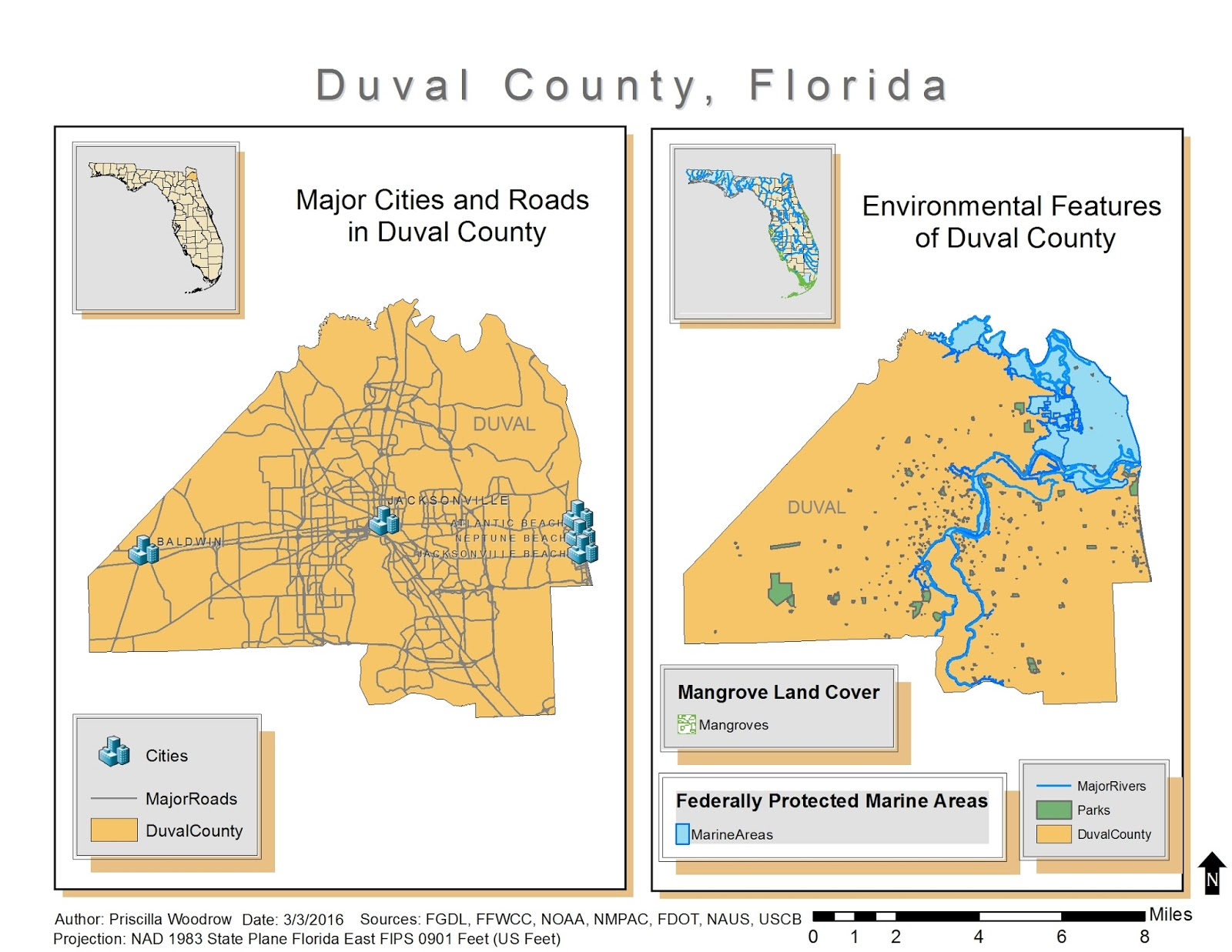 this map shows the vector data i acquired on the left the map depicts the major cities and roads in duval county on the right the map depicts parks