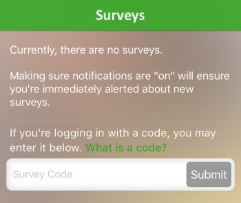 Survey codes for OnGo 2020