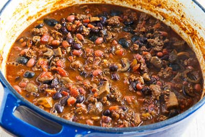 Not Just for the Superbowl Chili with Sausage, Mushrooms, and Olives found on KalynsKitchen.com