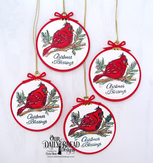 Our Daily Bread Designs, Winter cardinal, circle ornaments, pierced circles, circles, Designed by Chris Olsen