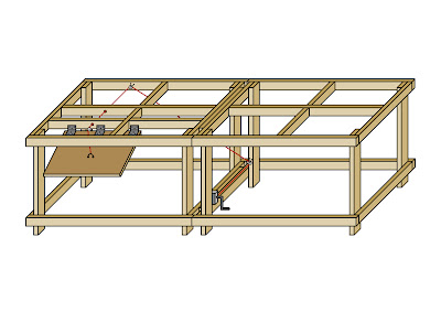 Benchwork rendering with control panel winch stystem