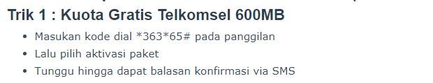 Kuota Telkomsel 600MB