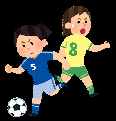 ドリブルのイラスト(女子サッカー)