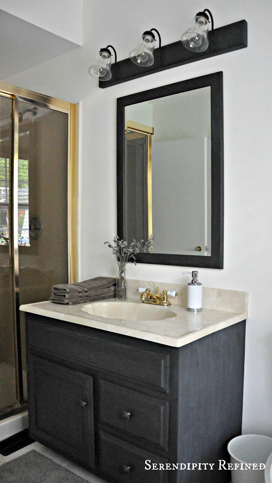 Serendipity refined blog how to update oak and brass - Images of bathroom vanity lighting ...