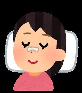 鼻にいびき防止テープを貼って寝る人のイラスト(女性)