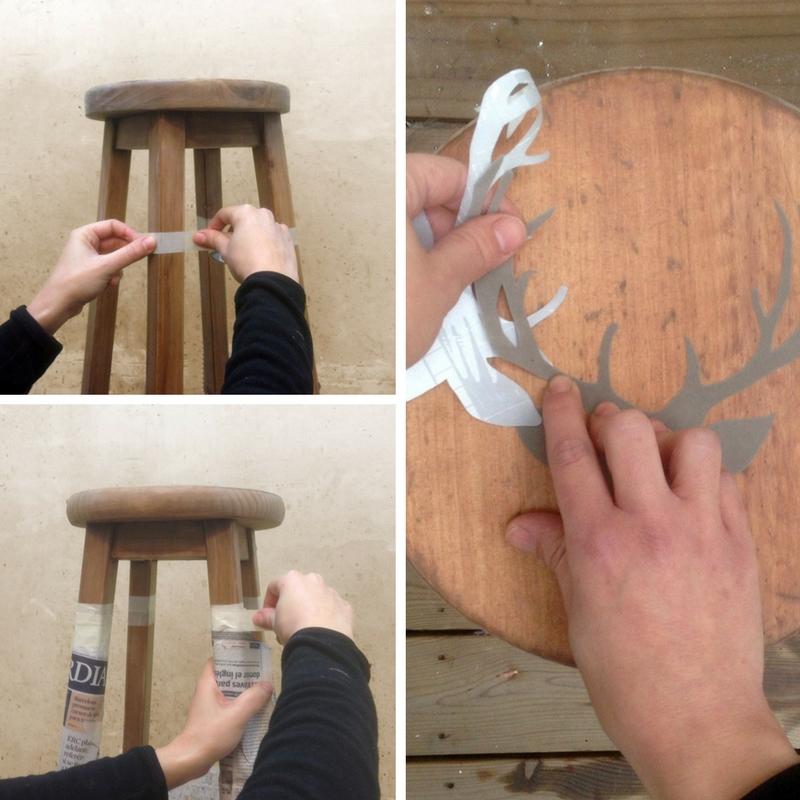 Paso A Paso - Dos taburetes de madera - Marcando y pegando