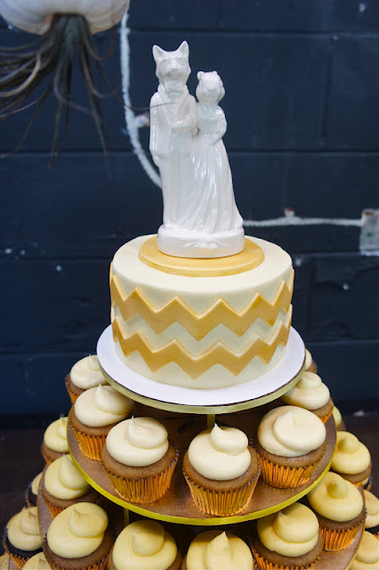 Chevron Wedding Cake with Ombre Cupcakes