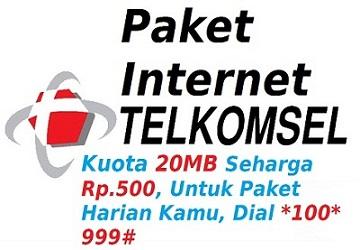 Cara Paket Internet Telkomsel Dengan Pulsa Rp. 500 Sebesar 20MB (Paket Harian)