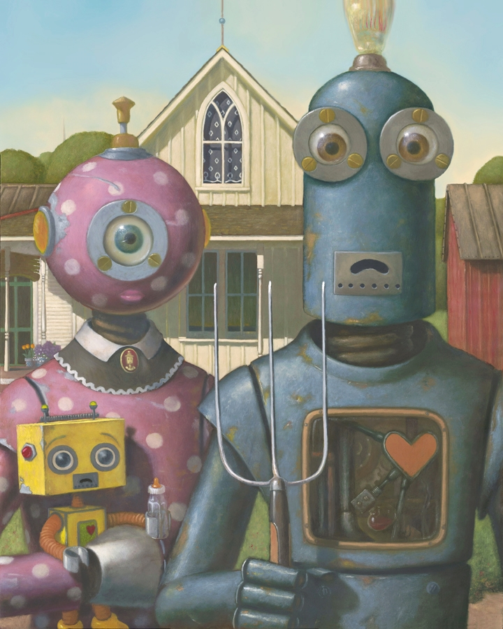 05-American-Robots-American-Gothic-Grant-Wood-Geoffrey-Gersten-Surreal-and-Retro-Paintings-in-Modern-Times-www-designstack-co