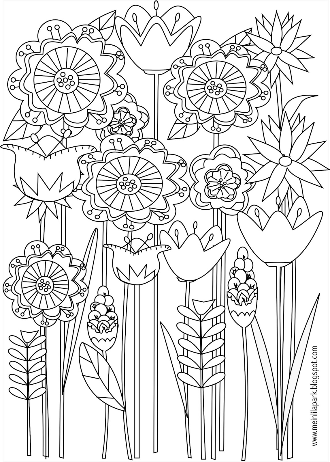 Free printable floral coloring page - ausdruckbare ... | free printable coloring pages for adults flowers