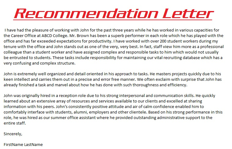 Professional Reference Sample Recommendation Letter: Sample Recommendation Letter 3000
