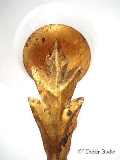 Estilo mid century, dorado, metal, lámparas vintage años 50