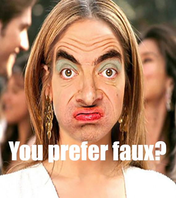 Funny meme interior design Mr. Bean prefer faux by Hello Lovely Studio