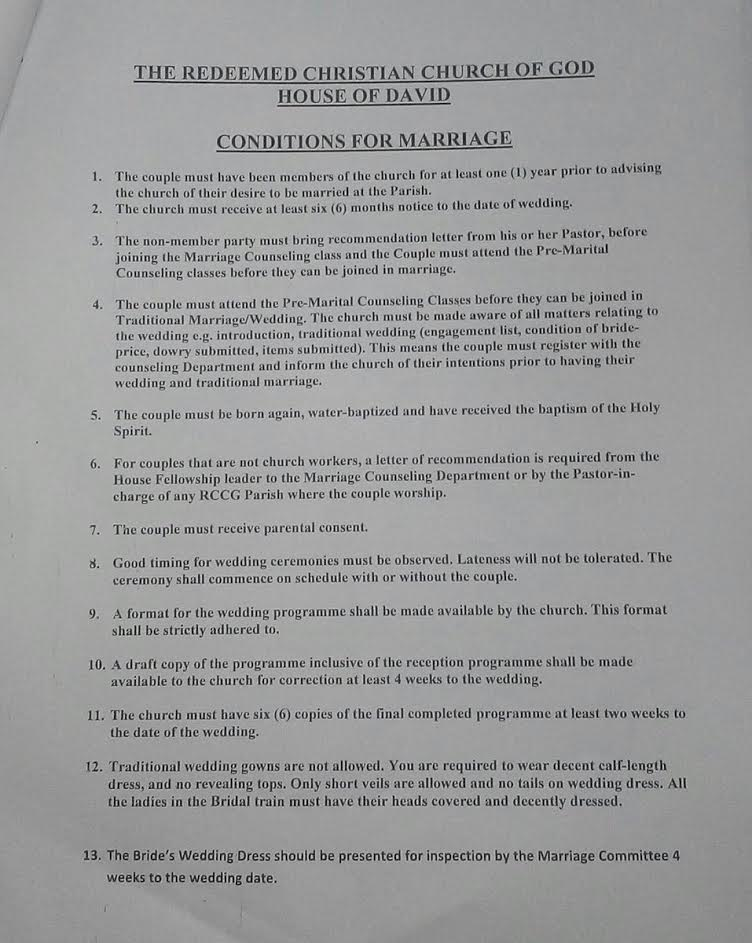 Photos lists of the conditions for marriage for intending couples photos lists of the conditions for marriage for intending couples in rccg house of david thecheapjerseys Images