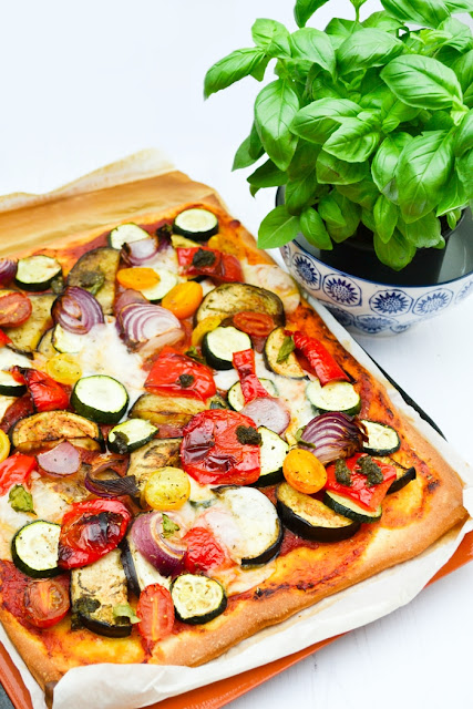 Vegan Roast Vegetable, Pesto and Cream Cheese Pizza