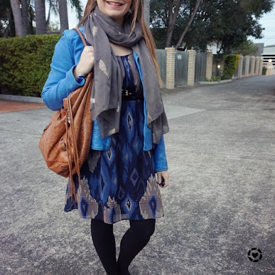 awayfromblue instagram tan hobo bag belted ikat print dress cobalt jacket winter outfit