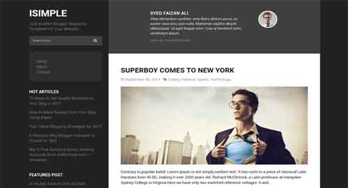 iSimple Classic Layout Responsive Blogger Template