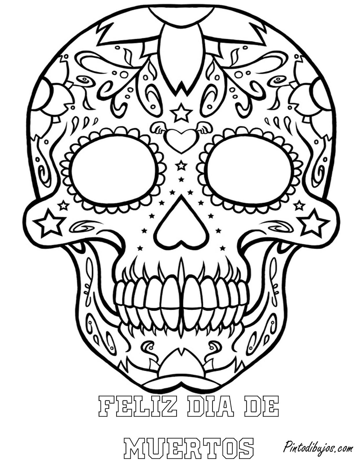 Pinto Dibujos Mascara Del Dia De Muertos