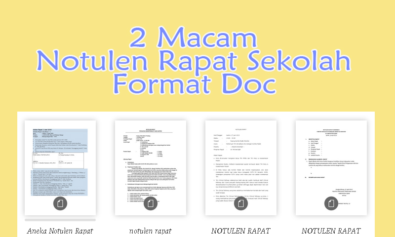 2 Macam Notulen Rapat Sekolah Format Doc