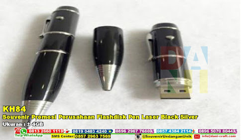Souvenir Promosi Perusahaan Flashdisk Pen Laser Black Silver