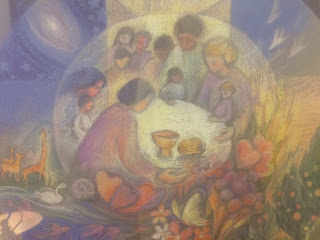 "Detail from ""One Sacred Community"" by Mary Southard."