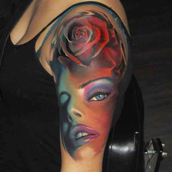 Amazing Girls Face Tattoo By Kamil Tattoos