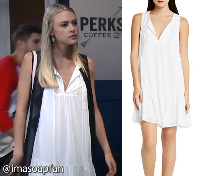 Kiki Jerome's Tiered White A-Line Dress - General Hospital, Season 54, Episode 08/22/16