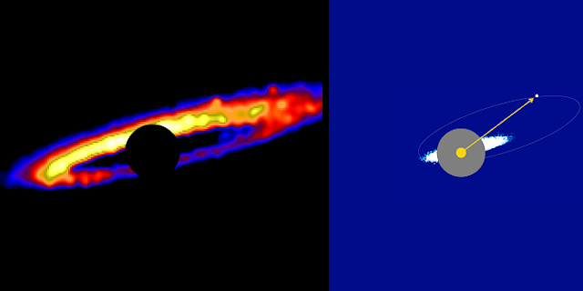 Two images of the HD 106906 stellar system created by Erika Nesvold and her team's simulation. The left panel shows a zoomed-in image of the ring of leftover rocky and icy planet-forming material that is rotating around the star. (The star is masked by the black circle.) The different hues represent gradients of brightness in the disk material. (Yellow is the brightest and blue the dimmest.). The right panel shows a farther-out view of the simulated system. The star is represented by the yellow circle with an arrow pointing to the exoplanet, 106906b. Nesvold's team demonstrated that the exoplanet is shaping the structure of the debris disk, which is shown by the white and blue dots encircling the star. Credit: carnegiescience.edu