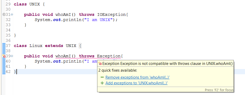Overriding method cannot throw higher checked Exception in Java
