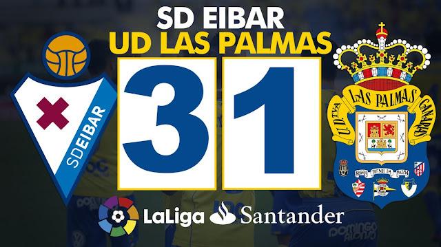 Marcador final SD Eibar 3 - UD Las Palmas 1