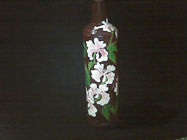 Jual Lukisan Kaca Unik Lukisan Kaca Botol Bunga C2