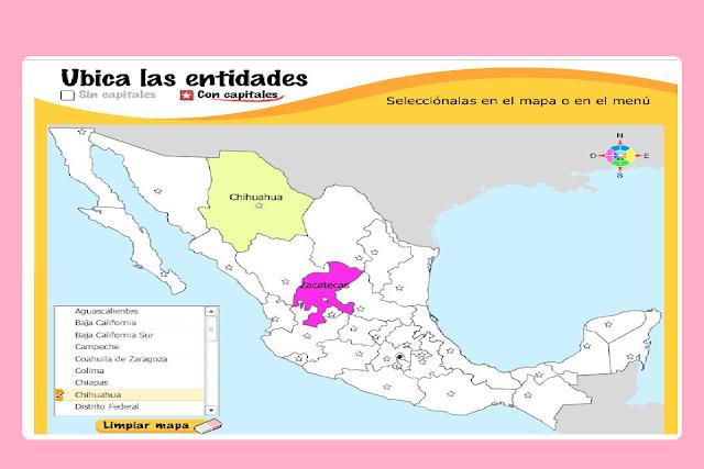 geografía,juego educativo,estados,república,México