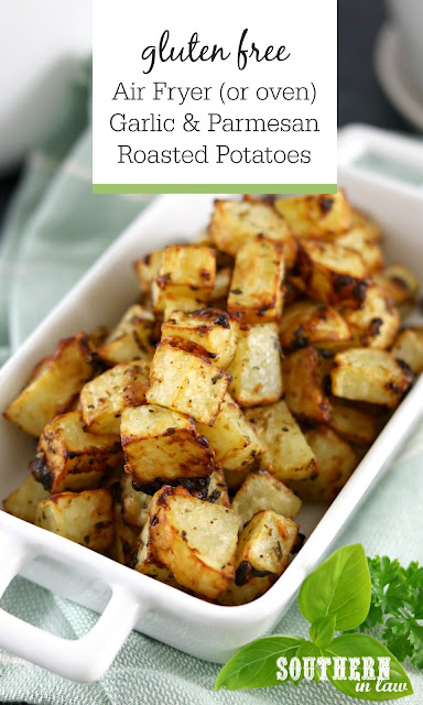 Air Fryer Garlic Parmesan and Herb Roasted Potatoes Recipe – gluten free, grain free, healthy, low fat, clean eating recipe
