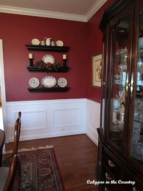 Red Dining Room with White Wainscotting