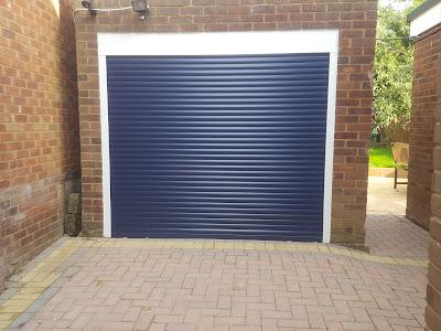 The navy Garage door