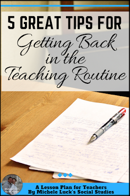 Great ideas on helping teachers get back in the routine to work after summer break from school. The 5th idea is the one I use the most!