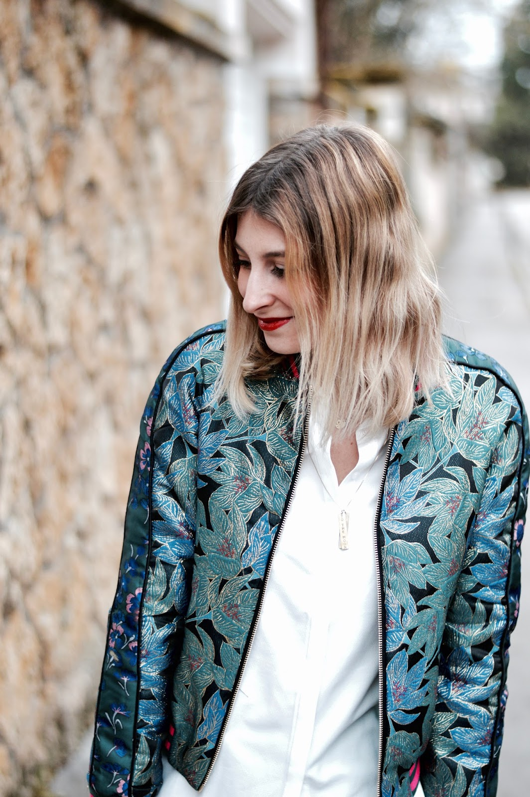 blog mode : look femme blouson bomber jacquard bleu Pimkie
