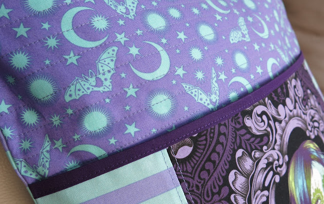Luna Lovequilts - Reading pillow in De La Luna collection by Tula Pink - Close-up