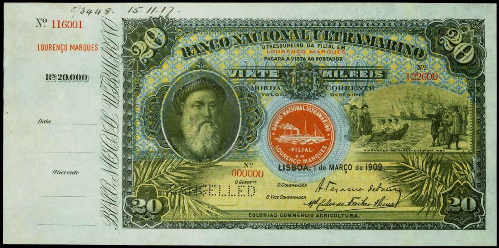 banknotes 20 Mil Reis Banco Nacional Ultramarino Mozambique