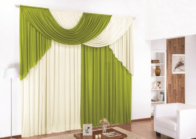 modern green and white living room curtains
