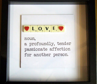 Definition of Love box frame with letter tiles