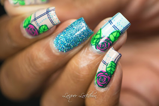 Spring Plaid and Floral Nail Art + Tutorial