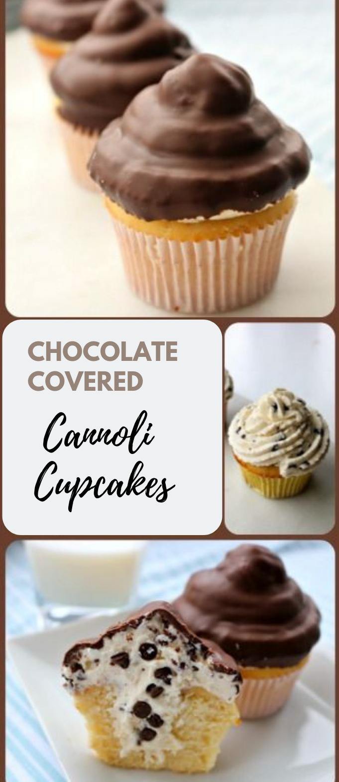 CHOCOLATE COVERED CANNOLI CUPCAKES #chocolate #yummy