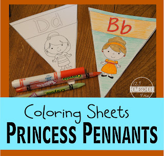 Princess Alphabet Pennants - Coloring Pages