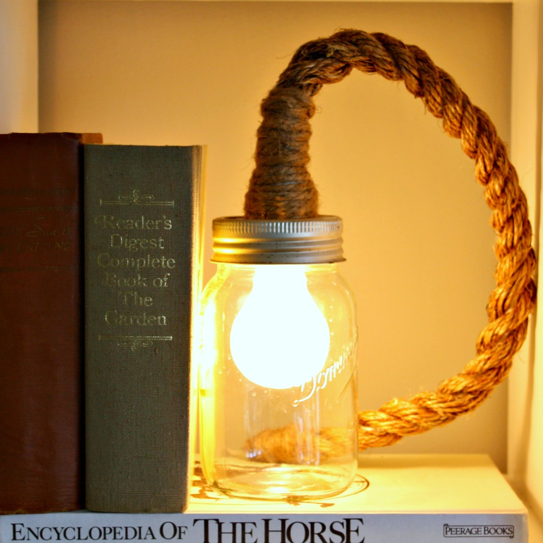 i love that junk make a mason jar rope light vintage prairie. Black Bedroom Furniture Sets. Home Design Ideas