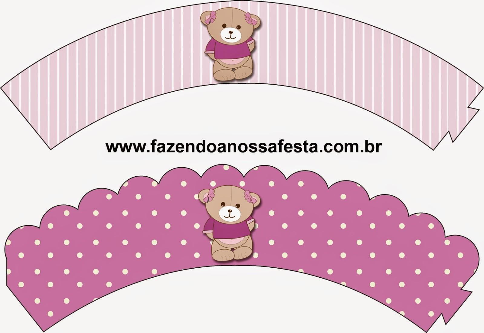 Wrappers para cupcakes de Osita en Fondo Lila.