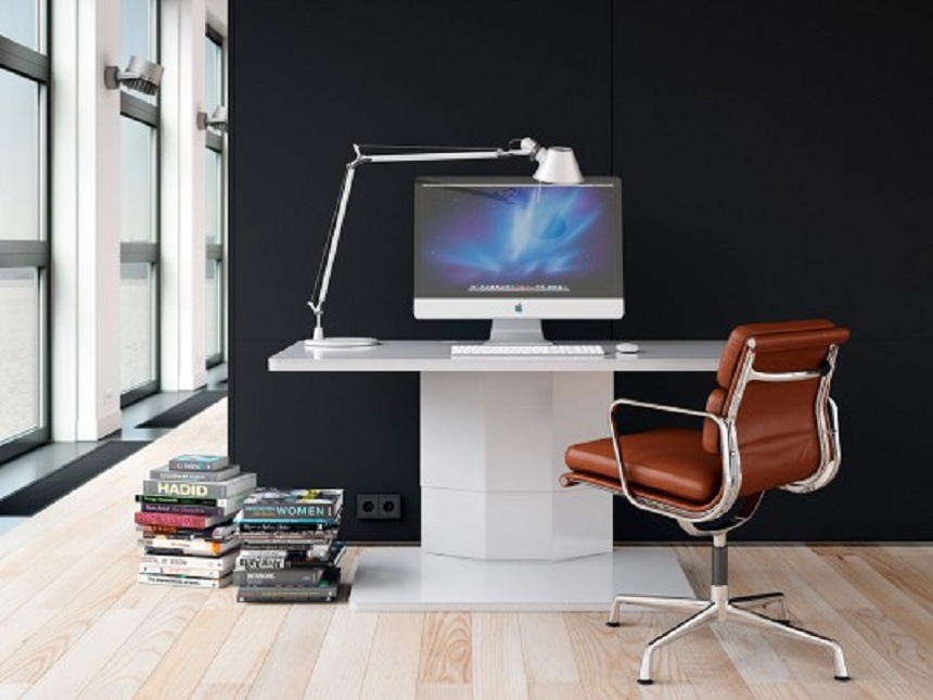 Home Workspace Solution with Fabulous Design and Black Wall