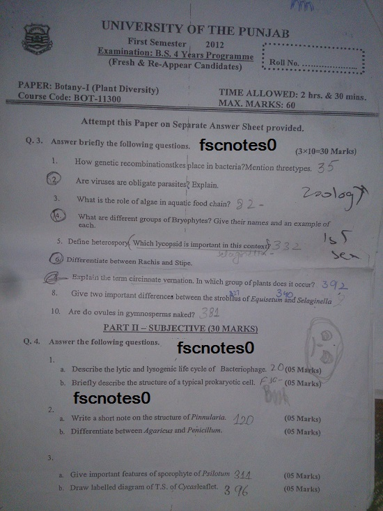 BS (Hons) Chemistry Past Papers Semester 1 Botany I (Plant Diversity) fscnotes0 Asad Hussain
